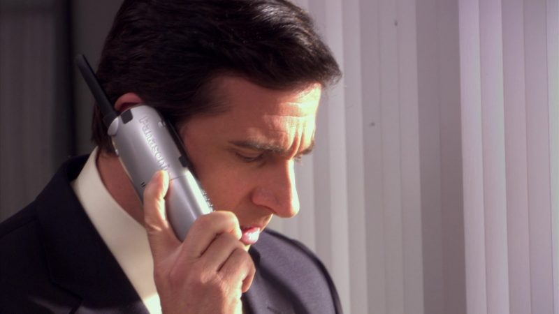 """Panasonic Phone Used by Steve Carell (Michael Scott) in The Office – Season 5, Episode 22, """"Dream Team"""" (2009) - TV Show Product Placement"""