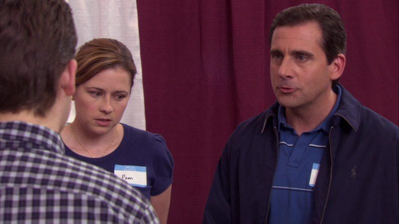 "Ralph Lauren Blue Jacket Worn by Steve Carell (Michael Scott) in The Office – Season 4, Episode 17, ""Job Fair"" (2008) - TV Show Product Placement"