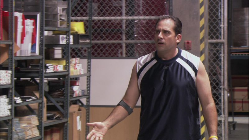 "Reebok Jersey Worn by Steve Carell (Michael Scott)  in The Office - Season 1, Episode 5, ""Basketball"" (2005) TV Show Product Placement"