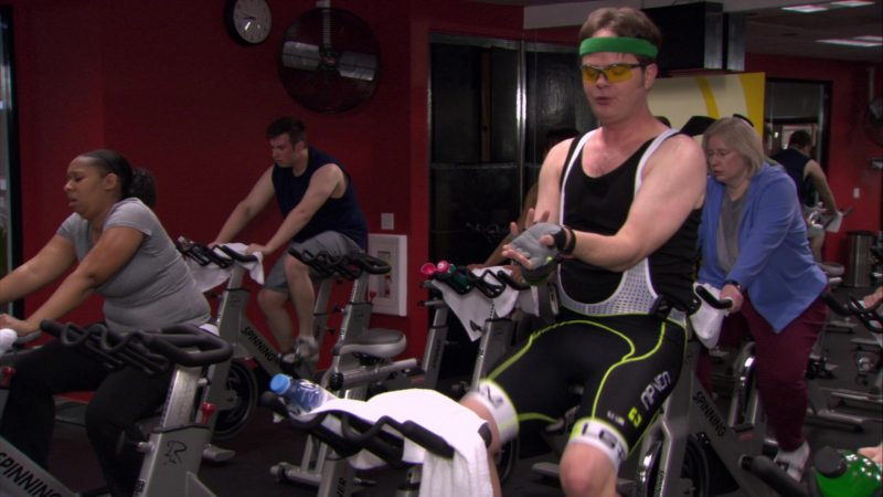 """SPINNING Indoor Cycling Bike Used by Rainn Wilson (Dwight Schrute) in The Office – Season 6, Episode 24, """"The Cover-Up"""" (2010) - TV Show Product Placement"""