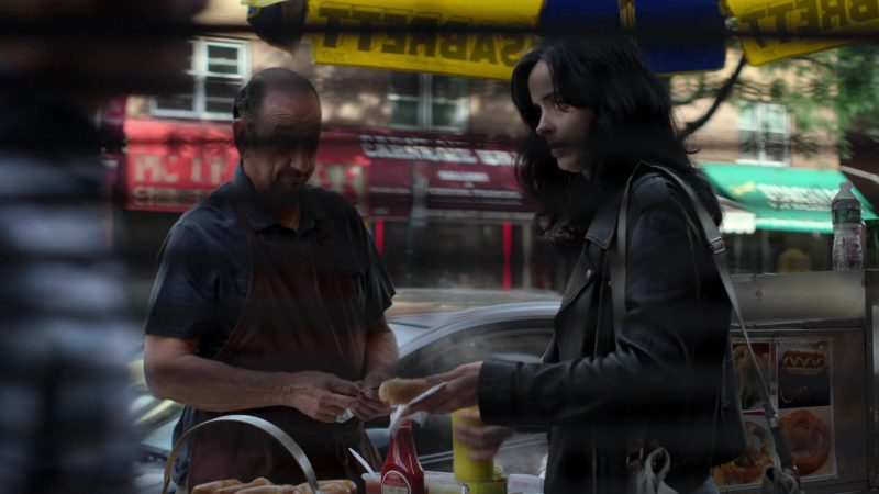 """Sabrett Hot Dogs in Jessica Jones - Season 3, Episode 3, """"A.K.A I Have No Spleen"""" (2019) - TV Show Product Placement"""