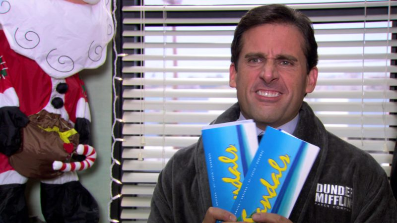 "Sandals Resorts International Tickets Held by Steve Carell (Michael Scott) in The Office – Season 3, Episode 10-11, ""A Benihana Christmas"" (2006) TV Show Product Placement"