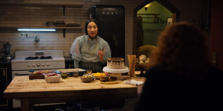 """Smeg Black Refrigerator Used by Greta Lee in Russian Doll - Season 1, Episode 7, """"The Way Out"""" (2019) TV Show"""