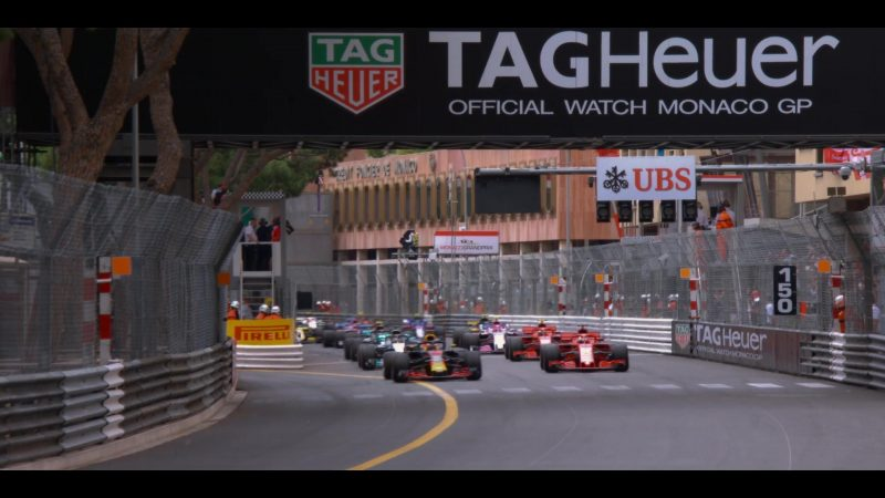 Tag Heuer, Pirelli, UBS, Monaco Formula 1 Grand Prix in Murder Mystery (2019) Movie