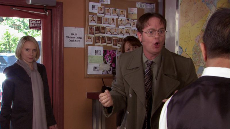 "The Zagat Survey Rated Door Sticker in The Office – Season 7, Episode 15, ""The Search"" (2011) - TV Show Product Placement"