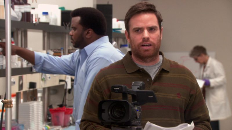 "Timberland Shirt and Canon Video Camera in The Office – Season 9, Episode 20, ""Paper Airplane"" (2013) TV Show Product Placement"