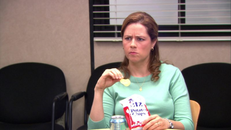 "UTZ Chips Held by Jenna Fischer (Pam Beesly) in The Office – Season 9, Episode 7, ""The Whale"" (2012) TV Show"