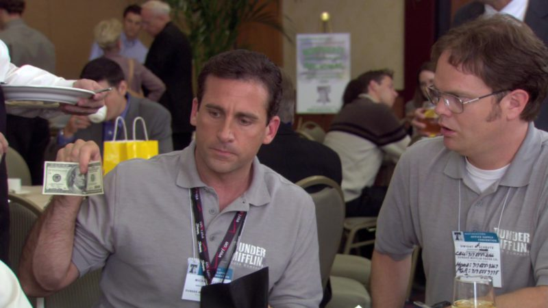"""Verizon Lanyard Used by Steve Carell (Michael Scott) in The Office – Season 3, Episode 2, """"The Convention"""" (2006) - TV Show Product Placement"""