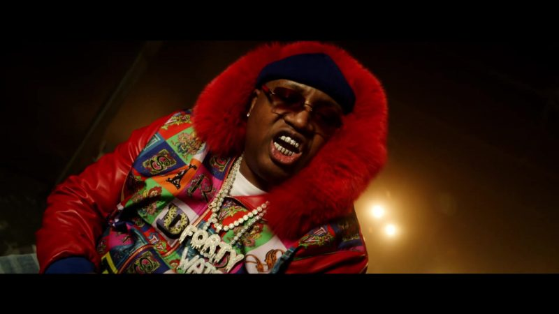 Versace Jacket Worn by E-40 in Chase The Money ft. Quavo, Roddy Ricch, A$AP Ferg, ScHoolboy Q (2019) - Official Music Video Product Placement