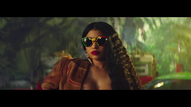 Versace Vogue Print Tribute Sunglasses Worn by Nicki Minaj in Megatron (2019) - Official Music Video Product Placement