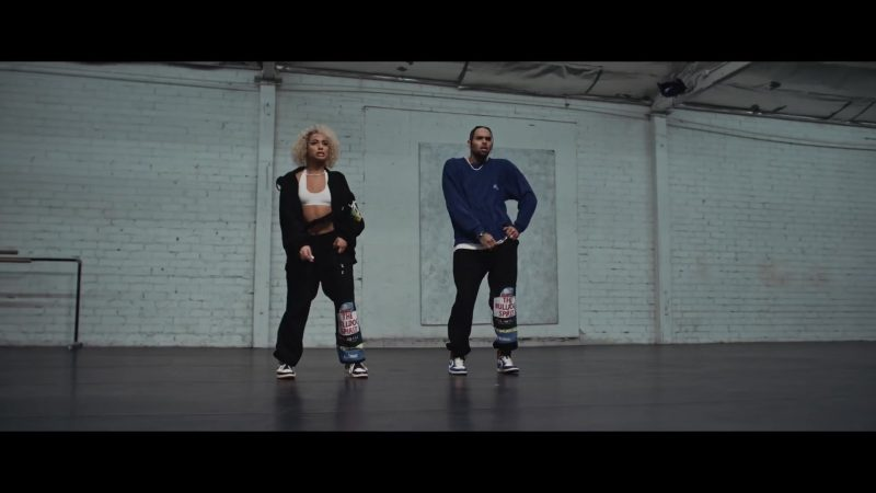 "Vetements The Bulldog Spirit Patchwork Sweatpants Worn by DaniLeigh in ""Easy"" (Remix) ft. Chris Brown (2019) - Official Music Video Product Placement"
