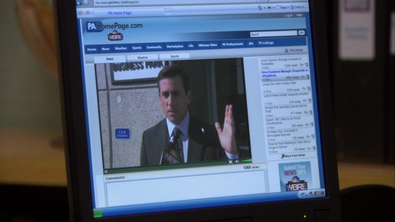 """WBRE-TV Channel PaHomePage.com Website in The Office – Season 6, Episode 26, """"Whistleblower"""" (2010) - TV Show Product Placement"""