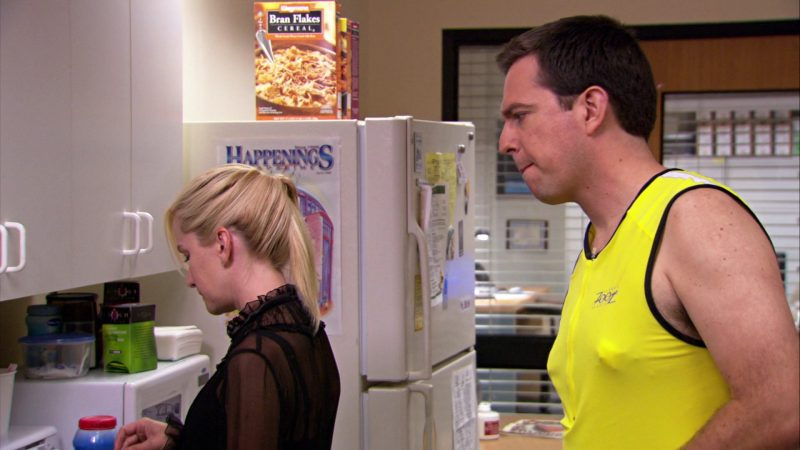 """Wegmans Bran Flakes Cereal in The Office – Season 4, Episodes 1-2, """"Fun Run"""" (2007) TV Show Product Placement"""