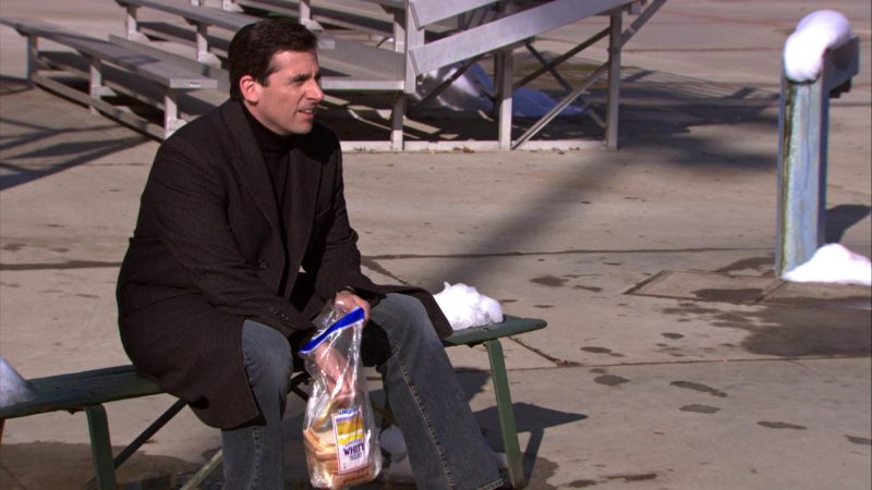 """Wegmans Bread Held by Steve Carell (Michael Scott) in The Office – Season 5, Episodes 14-15, """"Stress Relief"""" (2009) TV Show Product Placement"""