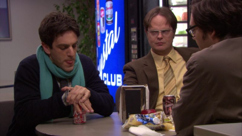 "Wegmans Cola Held by B. J. Novak (Ryan Howard) and Wegmans Fountain Root Beer Enjoyed by Rainn Wilson (Dwight Schrute) in The Office – Season 6, Episode 16, ""The Manager and the Salesman"" (2010) - TV Show Product Placement"