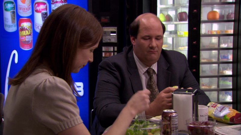 """Wegmans Fountain Root Beer Enjoyed by Ellie Kemper (Erin Hannon) and Herr's Chips Enjoyed by Brian Baumgartner (Kevin Malone) in The Office – Season 6, Episodes 17-18, """"The Delivery"""" (2010) - TV Show Product Placement"""