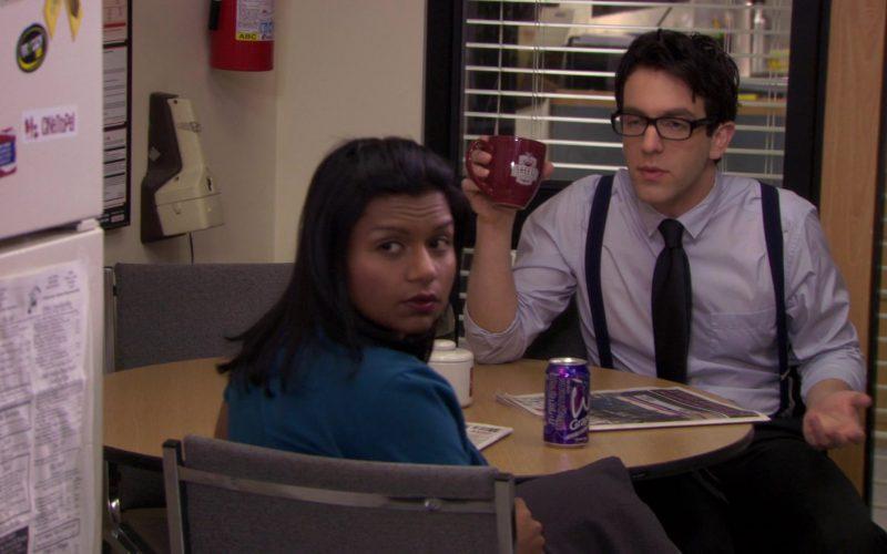 Wegmans Grape Drink Enjoyed by Mindy Kaling (Kelly Kapoor) and Sheetz Mug Held by B. J. Novak (Ryan Howard) in The Office