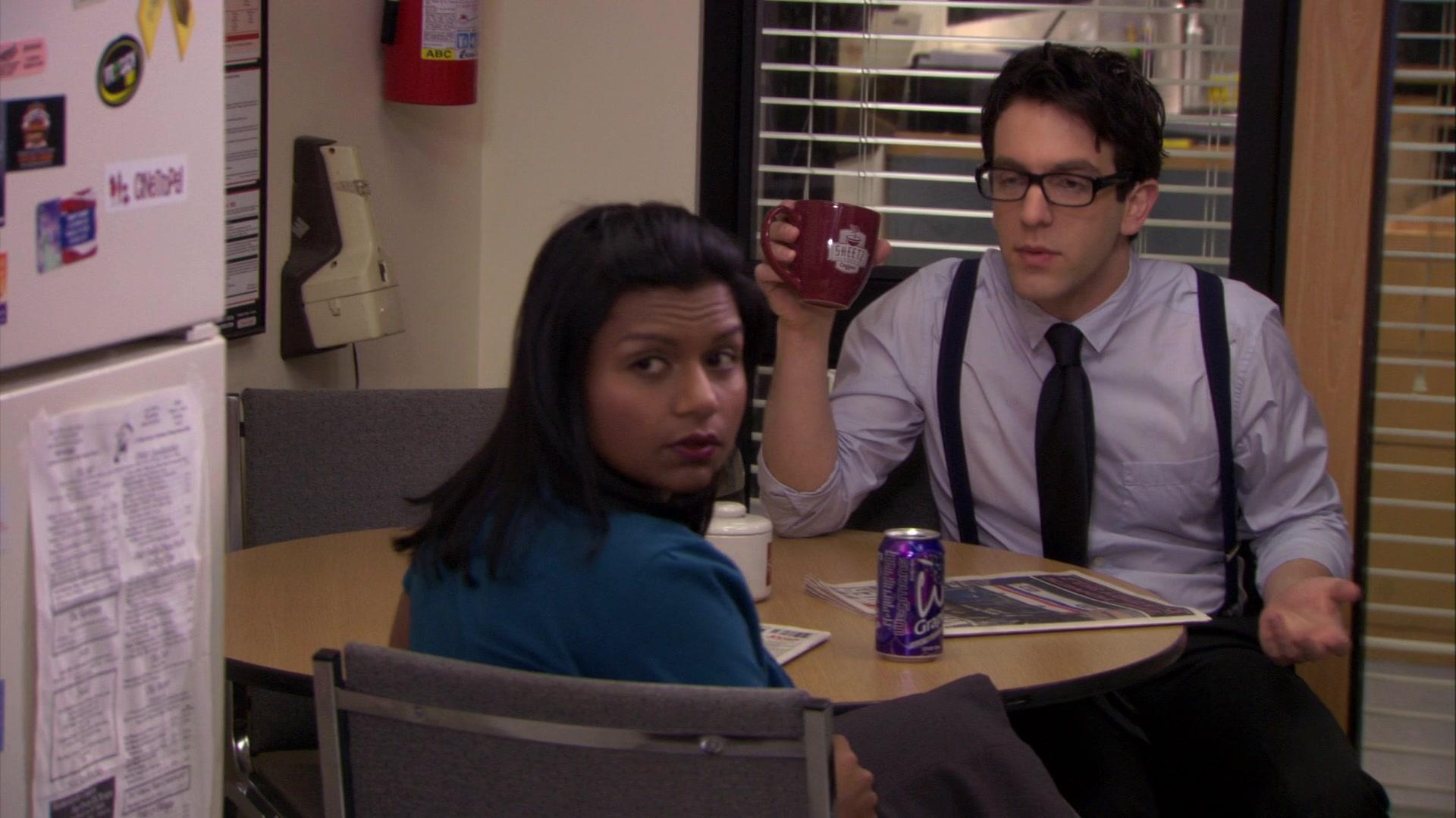 Wegmans Grape Drink Enjoyed By Mindy Kaling Kelly Kapoor And Sheetz Mug Held By B J Novak Ryan Howard In The Office Season 6 Episode 25 The Chump 2010