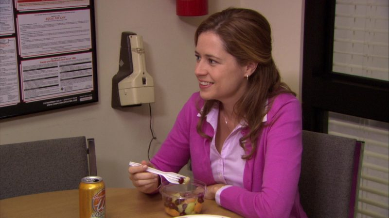 """Wegmans Mango Drink Can Enjoyed by Jenna Fischer (Pam Beesly) in The Office – Season 7, Episode 3, """"Andy's Play"""" (2010) - TV Show Product Placement"""