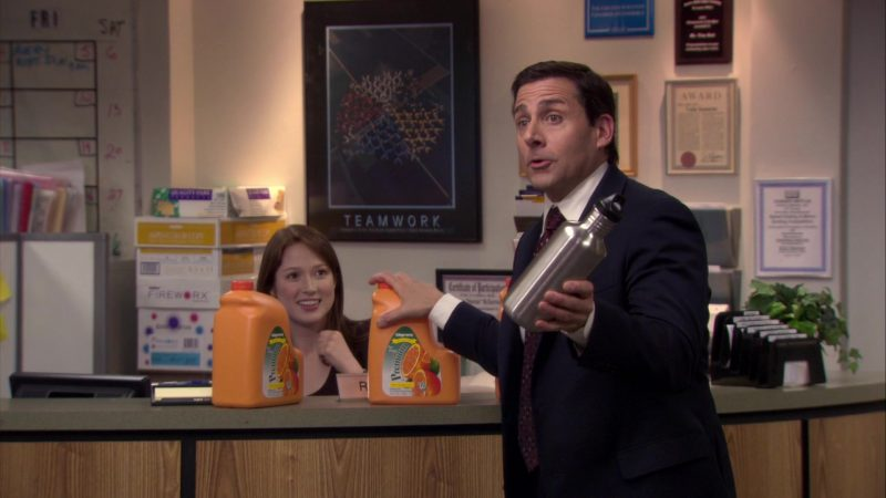 """Wegmans Orange Juice Held by Steve Carell (Michael Scott) in The Office – Season 6, Episode 15, """"Sabre"""" (2010) TV Show Product Placement"""