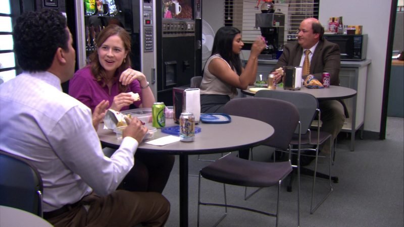 "Wegmans Soda Enjoyed by Jenna Fischer (Pam Beesly) and LaCroix Sparkling Water Enjoyed by Oscar Nunez (Oscar Martinez) in The Office – Season 8, Episode 21, ""Angry Andy"" (2012) - TV Show Product Placement"