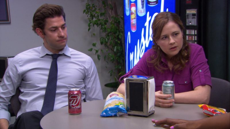 """Wegmans W Cola, Herr's Chips and UTZ Enjoyed by John Krasinski (Jim Halpert) & Jenna Fischer (Pam Beesly) in The Office – Season 8, Episode 21, """"Angry Andy"""" (2012) - TV Show Product Placement"""