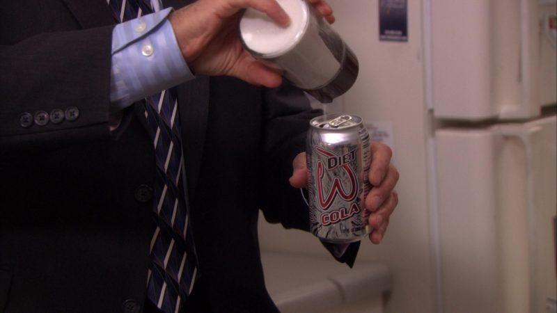 "Wegmans W. Diet Cola Held by Steve Carell (Michael Scott) in The Office – Season 5, Episode 10, ""The Surplus"" (2008) - TV Show Product Placement"