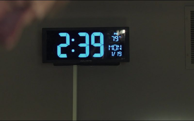 A clock mounted to the side