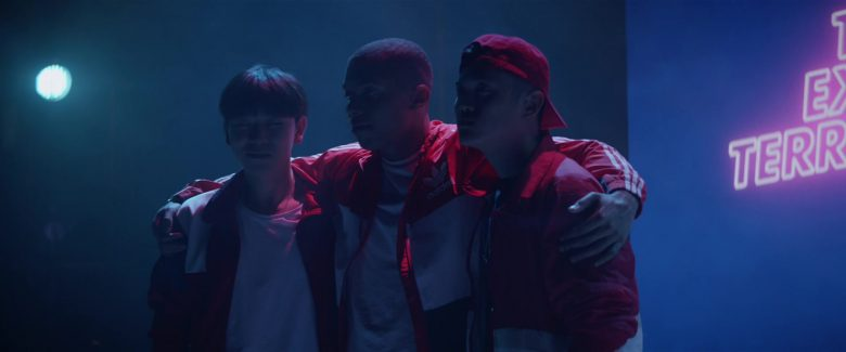 Adidas Men's Red Jackets in Teen Spirit (2018) - Movie Product Placement