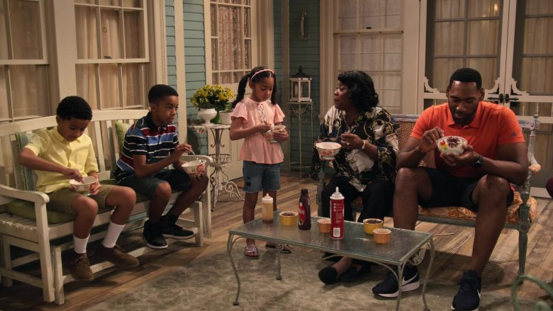 """Adidas Orange Shirt and Nike Sneakers Worn by Anthony Alabi in Family Reunion - Season 1 Episode 5, """"Remember Grace Under Fire?"""" (2019) - TV Show Product Placement"""