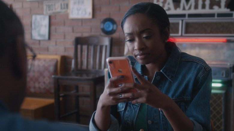 Apple iPhone XR Orange Smartphone in Ambitions - Season 1, Episode 7, Poison and Wine (2019) TV Show