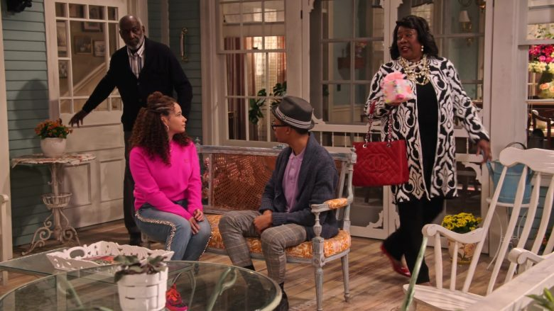 """Chanel Red Handbag Used by Loretta Devine in Family Reunion - Season 1 Episode 10, """"Remember When Our Boys Became Men?"""" (2019) - TV Show Product Placement"""