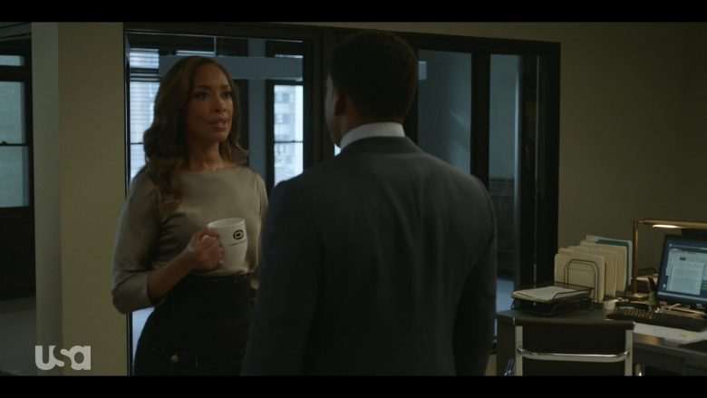 "Coffee Beanery White CB Logo Ceramic Mug Held by Gina Torres in Pearson - Season 1, Episode 1, ""The Alderman"" (2019) - TV Show Product Placement"
