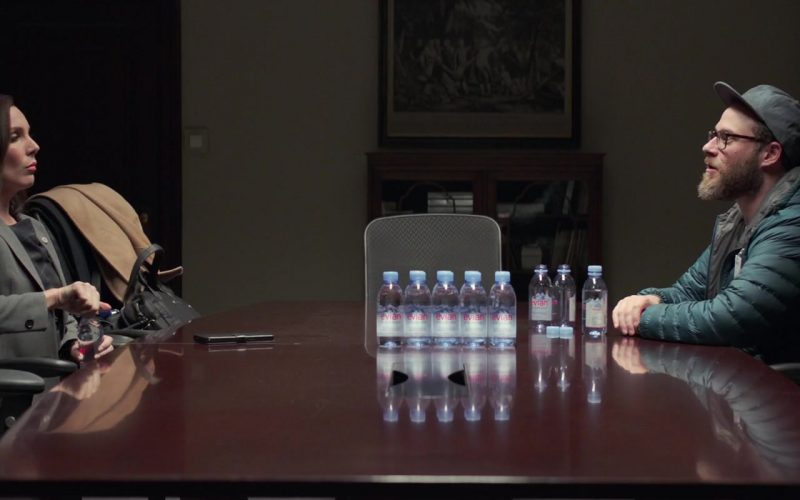 Evian Water Enjoyed by June Diane Raphael & Seth Rogen in Long Shot (1)