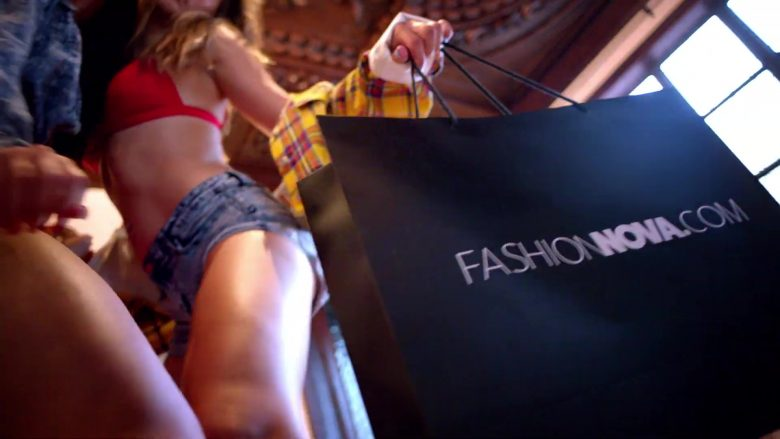 Fashion Nova (FashionNova.com) Clothing Online Store Paper Bag in Wiggle It by French Montana ft. City Girls (2019) - Official Music Video Product Placement
