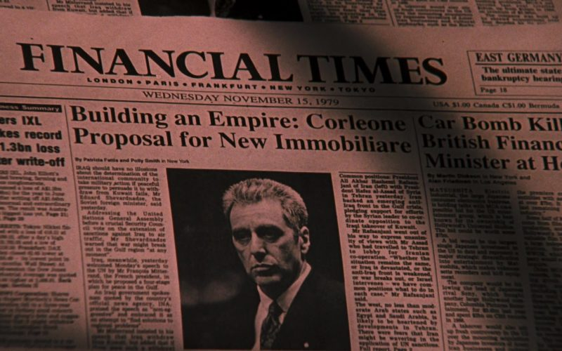 Financial Times Newspaper in The Godfather Part 3