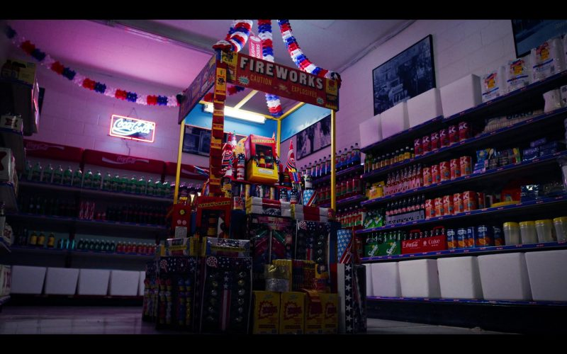 A store front at night