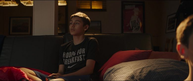 Nike T-Shirt with Hoops For Breakfast Logo Worn by Marcel Ruiz in Breakthrough (2019) - Movie Product Placement