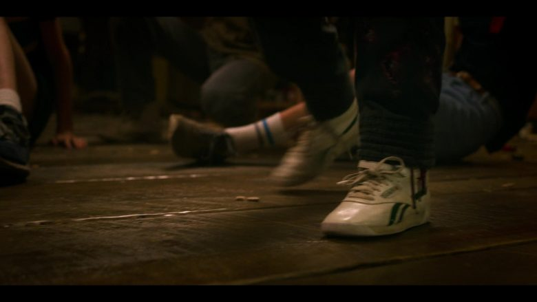 """Reebok High Top White Sneakers Worn by Millie Bobby Brown as Eleven aka Jane Hopper in Stranger Things - Season 3, Episode 7, """"The Bite"""" (2019) - TV Show Product Placement"""