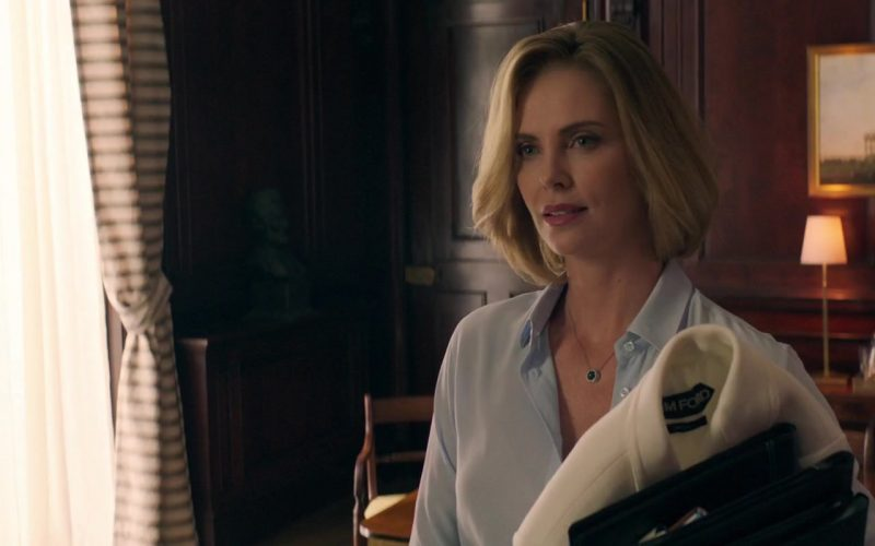Tom Ford White Coat Worn by Charlize Theron in Long Shot (1)