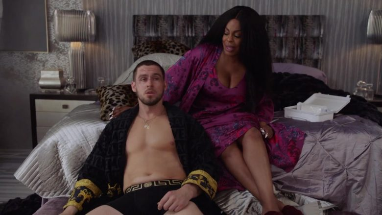 """Versace Bathrobe and Underwear Worn by Jack Kesy in Claws - Season 3, Episode 5, """"Zaddy Was a Rolling Stone"""" (2019) - TV Show Product Placement"""