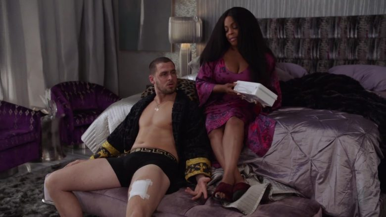 """Versace Bathrobe and Underwear Worn by Jack Kesy in Claws - Season 3, Episode 5, """"Zaddy Was a Rolling Stone"""" (2019) TV Show Product Placement"""