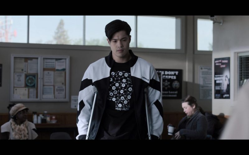 Adidas Black & White Sports Jacket Worn by Ross Butler as Zach in 13 Reasons Why (6)