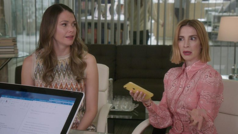 Apple iPhone XR Yellow Mobile Phone Used by Molly Kate Bernard in Younger - Season 6, Episode 7, Friends With Benefits (2019) - TV Show Product Placement
