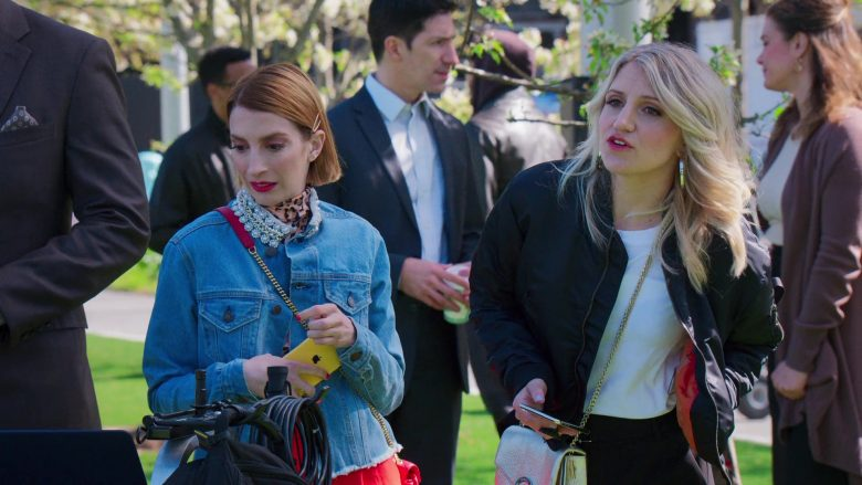 "Apple iPhone XR Yellow Smartphone Held by Molly Kate Bernard in Younger - Season 6, Episode 9, ""Millennial's Next Top Model"" (2019) - TV Show Product Placement"
