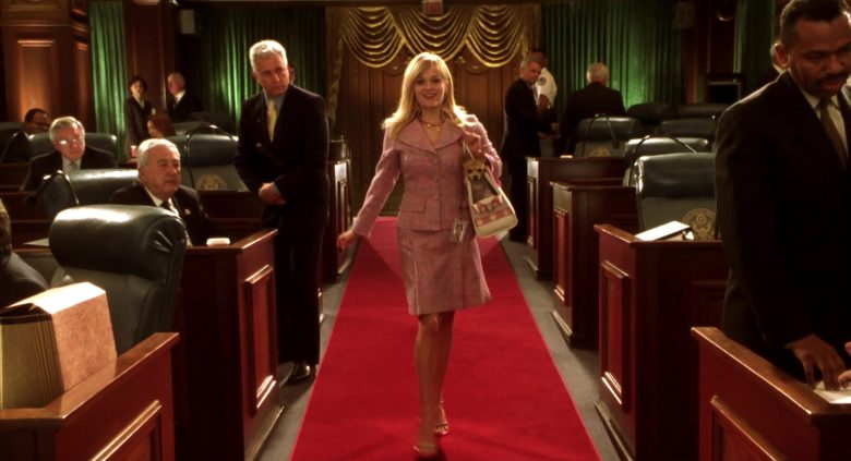 Chanel Pink Skirt and Jacket Suit Worn by Reese Witherspoon as Elle Woods in Legally Blonde 2: Red, White & Blonde (2003) - Movie Product Placement