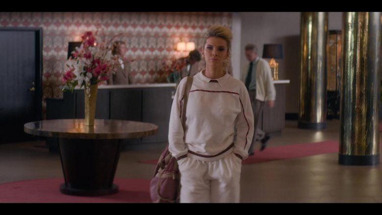"Gucci White Sweatshirt & Sweatpants Worn by Betty Gilpin as Debbie 'Liberty Belle' Eagan in Glow - Season 3, Episode 3, ""Desert Pollen"" (2019) - TV Show Product Placement"