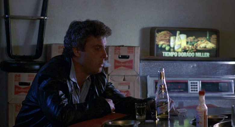 Miller Beer Enjoyed by William Petersen and Budweiser Boxes in To Live and Die in L.A. (1985) - Movie Product Placement