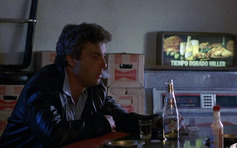 Miller Beer Enjoyed by William Petersen and Budweiser Boxes in To Live and Die in L.A.