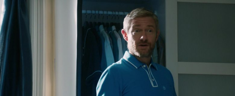 Original Penguin Blue Polo Shirt Worn by Martin Freeman in Ode to Joy (2019) - Movie Product Placement